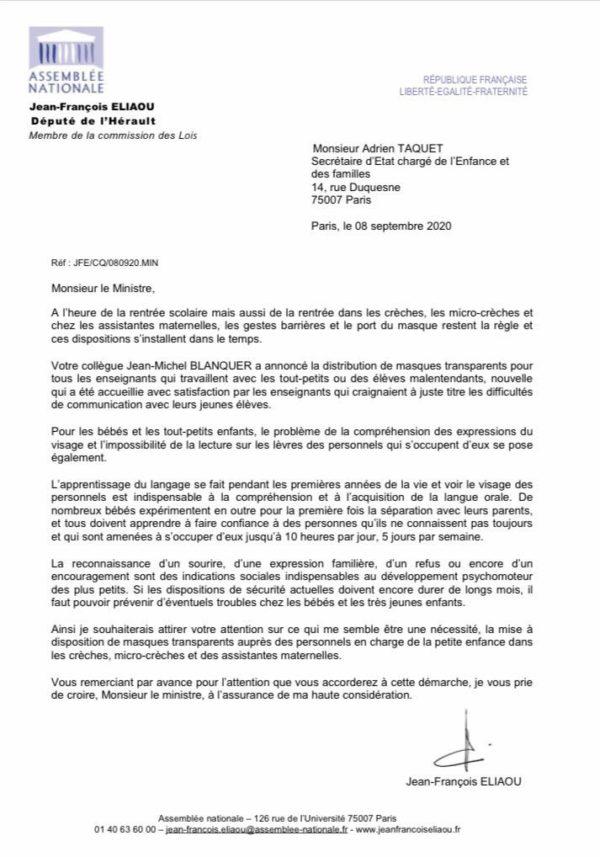 Jean-François ELIAOU demande au Ministre TAQUET des masques transparents pour les crèches