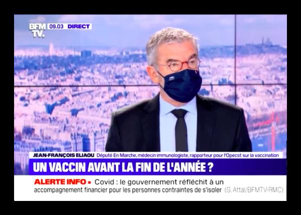 Vaccin Covid-19 : Jean-François ELIAOU invité de Bruce TOUSSAINT sur BFM TV