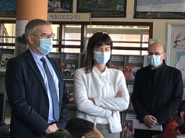Saint-André-de-Sangonis : Jean-François ELIAOU en visite au collège avec la Rectrice de Montpellier